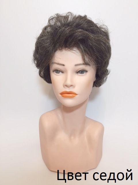 Женский натуральный парик седой